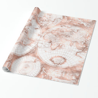 Rose Gold Pink Metal Glitter Antique World Map Wrapping Paper