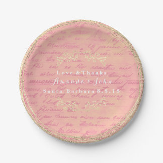 Rose Gold Pink Salmon Vintage Wreath Paper Plate