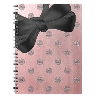 Rose Gold Pink Shine Glam Polka Dots Modern Chic Spiral Notebook