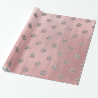 Rose Gold Pink Shine Glam Polka Dots Modern Chic Wrapping Paper