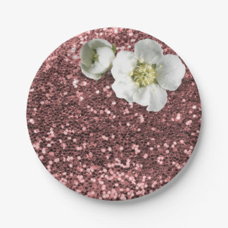 Rose Gold Pink White Jasmine Glitter Paper Plate