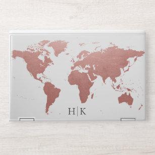 Rose Gold Pink World Map Monogram HP Laptop Skin