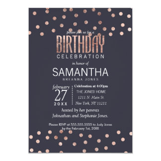 Rose Gold Polka Dots and Navy Blue Birthday Party 13 Cm X 18 Cm Invitation Card