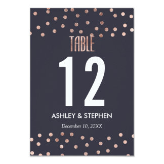 Rose Gold Polka Dots and Navy Blue Table Numbers 9 Cm X 13 Cm Invitation Card