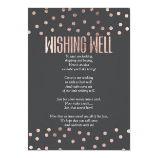 Rose Gold Polka Dots Charcoal Black Wishing Well 13 Cm X 18 Cm Invitation Card