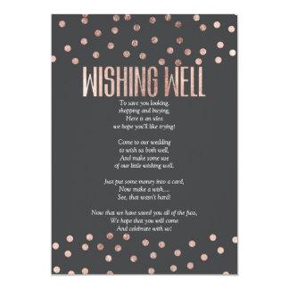 Rose Gold Polka Dots Charcoal Black Wishing Well Card
