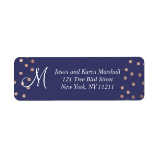 Rose Gold Polka Dots Light Navy Blue Labels