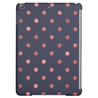 Rose Gold Polka Dots on Navy Background Case For iPad Air