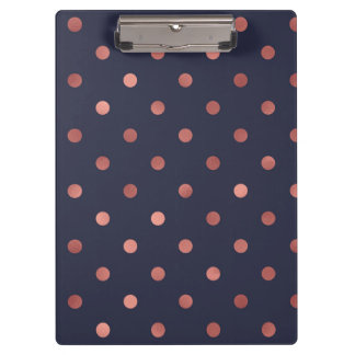 Rose Gold Polka Dots on Navy Background Clipboard