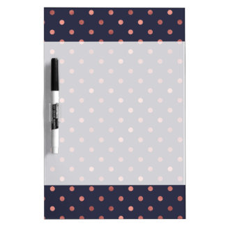 Rose Gold Polka Dots on Navy Background Dry Erase Board
