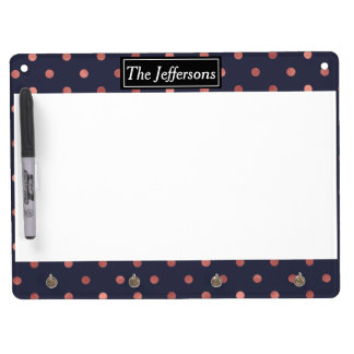 Rose Gold Polka Dots on Navy Background Dry Erase Board With Key Ring Holder