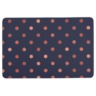 Rose Gold Polka Dots on Navy Background Floor Mat