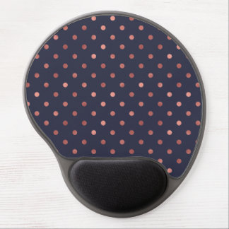 Rose Gold Polka Dots on Navy Background Gel Mouse Pad