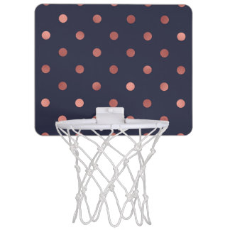 Rose Gold Polka Dots on Navy Background Mini Basketball Hoop