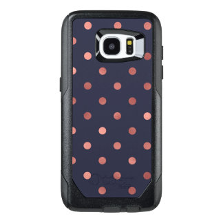 Rose Gold Polka Dots on Navy Background OtterBox Samsung Galaxy S7 Edge Case