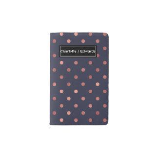 Rose Gold Polka Dots on Navy Background Pocket Moleskine Notebook
