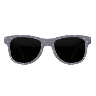 Rose Gold Polka Dots on Navy Background Sunglasses