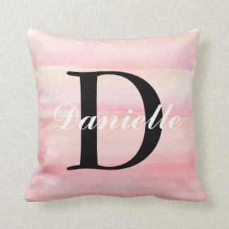 Rose Gold Quartz Blush Baby Pink Monogram Cushion