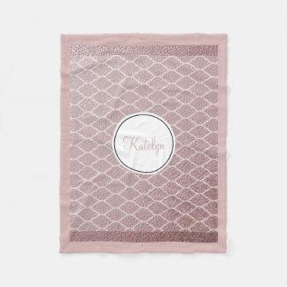 Rose Gold Quatrefoil Pattern | Custom Monogrammed Fleece Blanket
