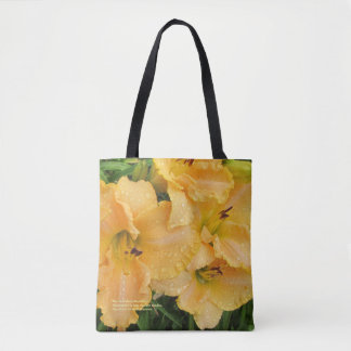 Rose Gold Rainy Day Daylilies Tote Bag
