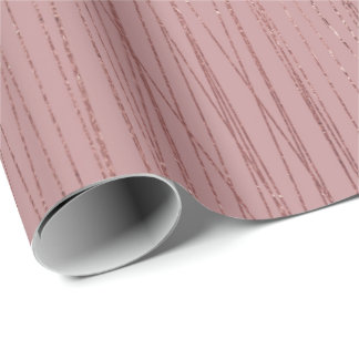 Rose Gold Red Bean Delicate Stripes Lines Tribal Wrapping Paper