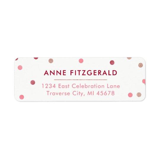 Rose Gold & Red Confetti Return Address Labels