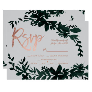 Rose gold script Floral green grey rsvp wedding Card