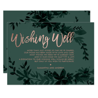 Rose gold script Floral green wedding wishing well Card