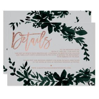 Rose gold script Floral grey wedding direction Card