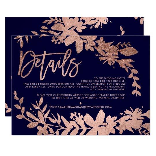 Rose Gold script floral navy wedding direction Card