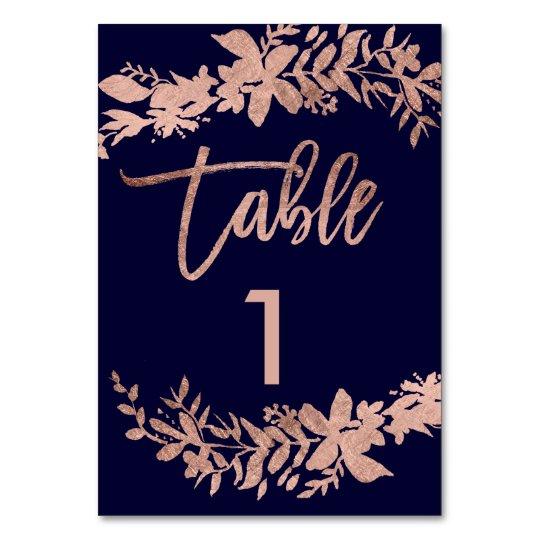 Rose gold script Floral navy wedding table number