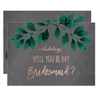 Rose gold script green leaf be my bridesmaid card