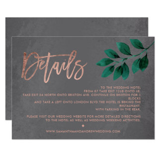 Rose gold script green leaf cement directions card