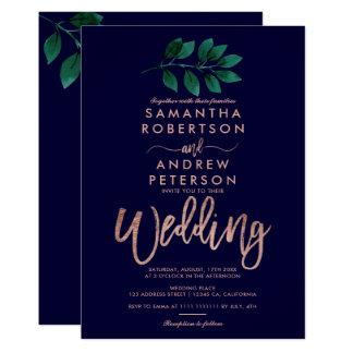 Rose gold script green leaf navy blue wedding card