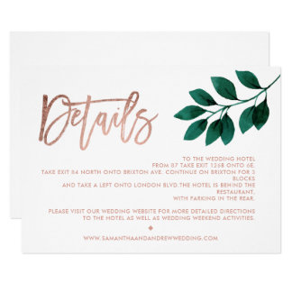 Rose gold script green leaf white directions card