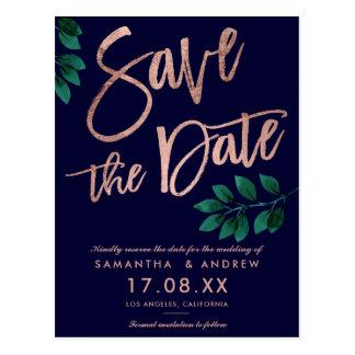 Rose gold script leaf navy blue save the date postcard
