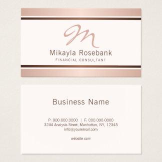 Rose Gold Script Monogram Professional Consultant Business Card