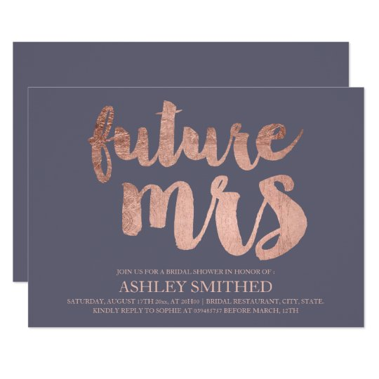 Rose gold script purple grey Mrs bridal shower Card