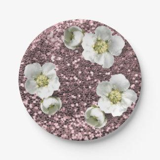 Rose Gold Sequin Floral White Jasmine Glitter Paper Plate