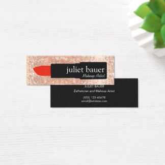 Rose Gold Sequin Makeup Artist Lipstick Beauty Mini Business Card