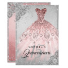 Rose Gold Silver Diamond Sparkle Gown Quinceanera Card