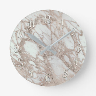 Rose Gold Silver Glam Marble Modern Personalized Round Clock