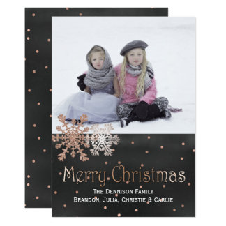 Rose Gold Snowflakes Christmas Photo Greeting Card 13 Cm X 18 Cm Invitation Card