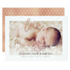 Rose Gold So in Love Birth Announcement Card