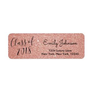 Rose Gold Sparkle Glitter Class of Graduation Return Address Label
