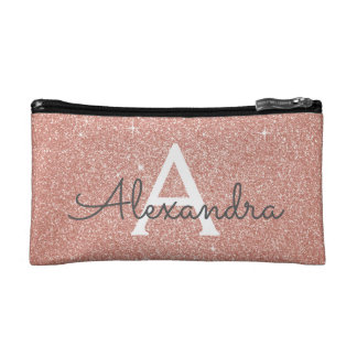 Rose Gold Sparkle Glitter Monogram Name & Initial Cosmetic Bag