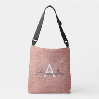 Rose Gold Sparkle Glitter Monogram Name & Initial Crossbody Bag