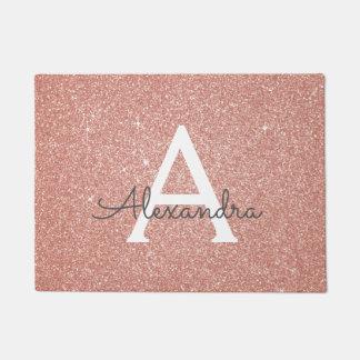 Rose Gold Sparkle Glitter Monogram Name & Initial Doormat