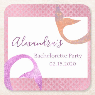 Rose Gold Sparkle Mermaid Bachelorette Party Square Paper Coaster