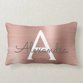 Rose Gold Stainless Steel Monogram Name & Initial Lumbar Cushion